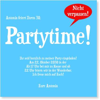Einladungskarten 30. Geburtstag, Partytime in Meerblau