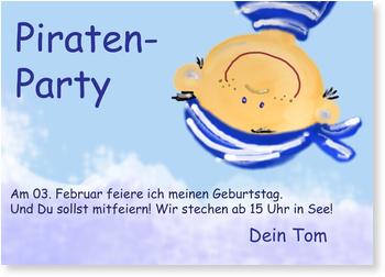 Einladungskarten Kindergeburtstag, Piratenparty
