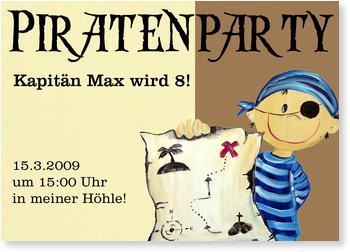 Einladungskarten Kindergeburtstag, Piratenparty mit Kapitän