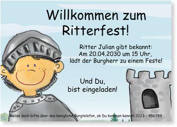 Einladungskarten Kindergeburtstag, Ritterfest
