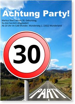 Einladungskarten 30. Geburtstag, Straßenschild