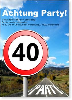 Einladungskarten 40. Geburtstag, Straßenschild