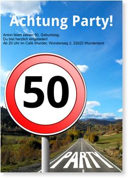 Einladungskarten 50. Geburtstag, Straßenschild