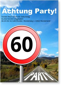 Einladungskarten 60. Geburtstag, Straßenschild