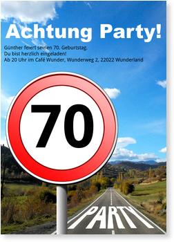 Einladungskarten 70. Geburtstag, Straßenschild