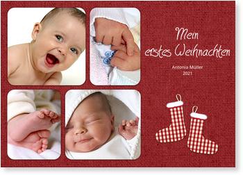 Weihnachtskarten Baby, Kleine Strümpfe