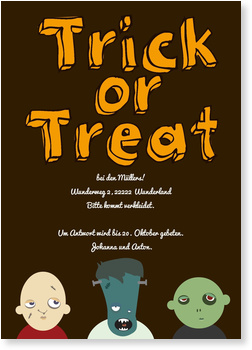 Einladungskarten Halloween , Süßes sonst gibt's Saures