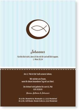 Einladungskarten Taufe, Ichthys in Blau