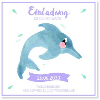Einladungskarten Taufe, Delfin in Lila