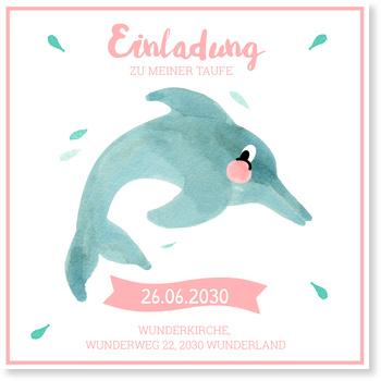 Einladungskarten Taufe, Delfin