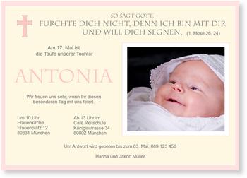 Einladungskarten Taufe, Taufe eines Mädchens