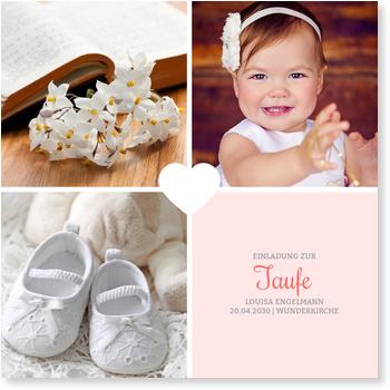 Einladungskarten Taufe, Herzchentaufe - Rosé
