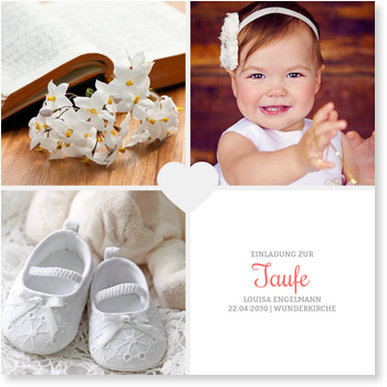 Einladungskarten Taufe, Herzchentaufe