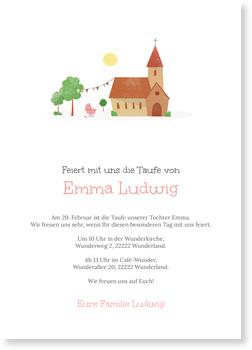 Einladungskarten Taufe, Kirche in Rosa