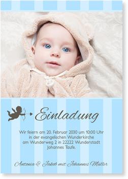 Einladungskarten Taufe, Kleines Engelchen in Blau