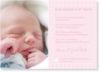 Einladungskarten Taufe, Einladung Taufe Küken - Rosa