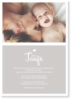 Einladungskarten Taufe, Täubchen in grau