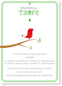 Einladungskarten Taufe, Kleines Vögelchen - Grün