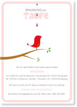 Einladungskarten Taufe, Kleines Vögelchen - Rosa