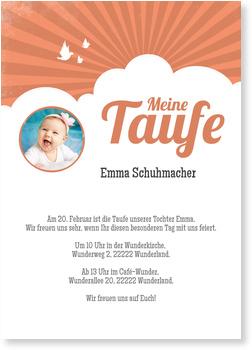 Einladungskarten Taufe, Wolken in Orange