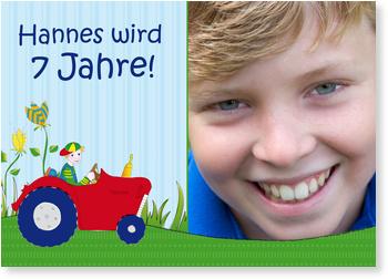 Einladungskarten Kindergeburtstag, Kleiner Traktor