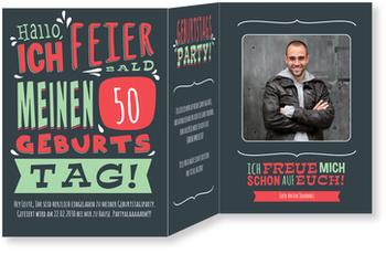 Einladungskarten 50. Geburtstag, Geburtstagstypo in Grün