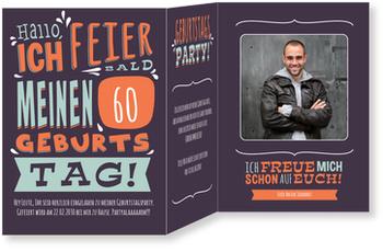 Einladungskarten 60. Geburtstag, Geburtstagstypo