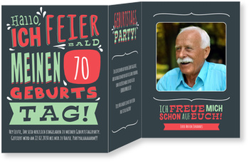 Einladungskarten 70. Geburtstag, Geburtstagstypo in Grün