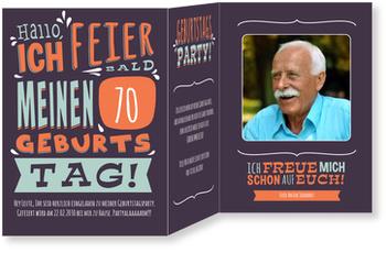 Einladungskarten 70. Geburtstag, Geburtstagstypo