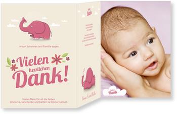 Dankeskarten Geburt, Kleiner Elefant in Rosa