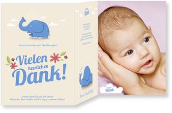 Dankeskarten Geburt, Kleiner Elefant