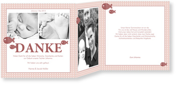 Dankeskarten Geburt, Pünktchen in Rosé