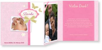 Dankeskarten Geburt, Scrapbook in Rosa