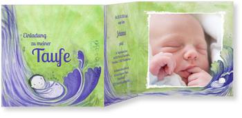 Einladungskarten Taufe, Wasserfall in Grün