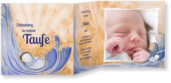 Einladungskarten Taufe, Wasserfall in Lilarot