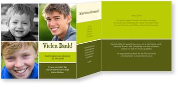 Danksagungskarten Konfirmation, Lustige Streifen in Grün