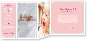 Geburtskarten, Rahmen in Rosa