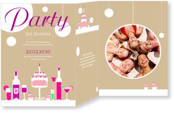 Einladungskarten Geburtstag, Geburtstagstisch in Bronze