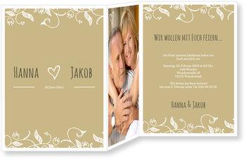Einladungskarten Goldene Hochzeit, Blumenranke