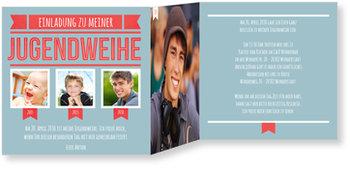 Einladungskarten Jugendweihe, Retroschrift in Blau