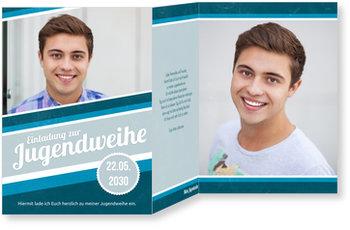 Einladungskarten Jugendweihe, Retrostreifen in Blau