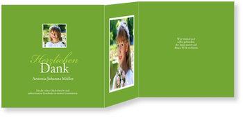 Danksagungskarten Kommunion, Elegante Kommunionsdanksagung in Grün