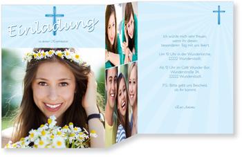 Einladungskarten Konfirmation, Heiliges Kreuz in Blau