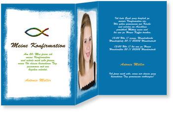 Einladungskarten Konfirmation, Ichthys - Pastellkreide in Blau