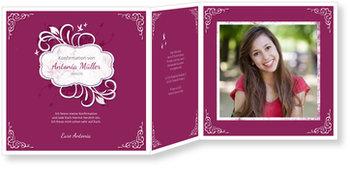 Einladungskarten Konfirmation, Ornamentemblem in Pink