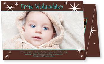 Weihnachtskarten Baby, Sternchen in Braun