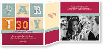 Einladungskarten Geburtstag, Party Schrift in Rot