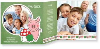 Neujahrskarten, Glücksschweinchen in Grün