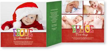 Weihnachtskarten Baby, Frohe Schrift in Rot