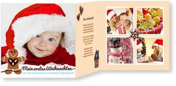 Weihnachtskarten Baby, Lebkuchenmännchen in Türkis